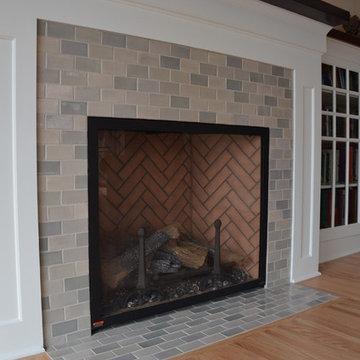Classic Light Grey Subway Tile Kitchen + Fireplace