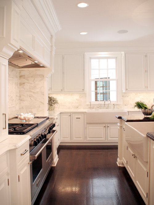 White Kitchen Wood Floors | Houzz
