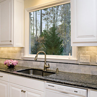 Large Elegant L Shaped Eat In Kitchen Photo Raleigh With An Undermount Sink