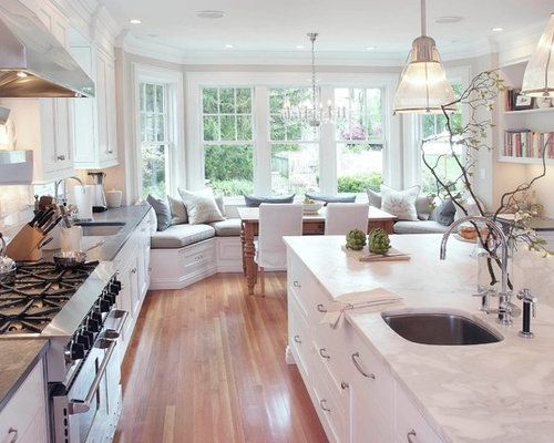 Example Of A Classic Kitchen Design In New York With White Countertops