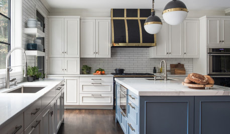 Bold Kitchen Makeover With Blue, Black and Brass Touches