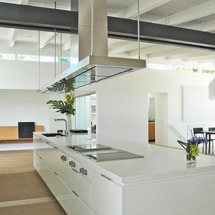 Foto di una cucina minimalista con elettrodomestici in acciaio inossidabile, ante bianche, top in superficie solida, paraspruzzi bianco e paraspruzzi con lastra di vetro