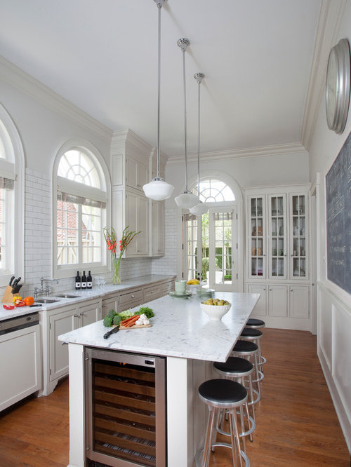 Long Narrow Kitchen Island Houzz - Long narrow kitchen design