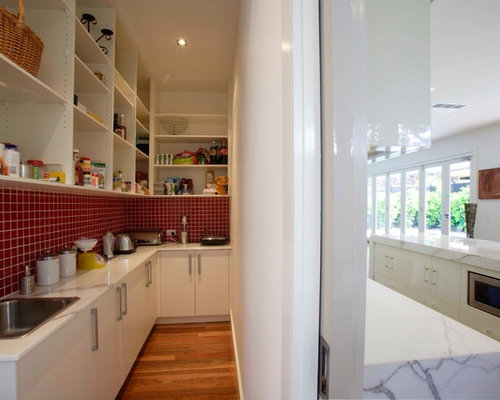 Genial Kitchen Pantry   Large Contemporary L Shaped Medium Tone Wood Floor Kitchen  Pantry Idea In