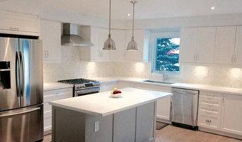 Clean White Kitchen w/Grey Island