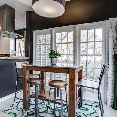 Mid-sized transitional u-shaped porcelain tile eat-in kitchen photo in Dallas with flat-panel cabinets, white cabinets, white backsplash, ceramic backsplash, white appliances and a peninsula