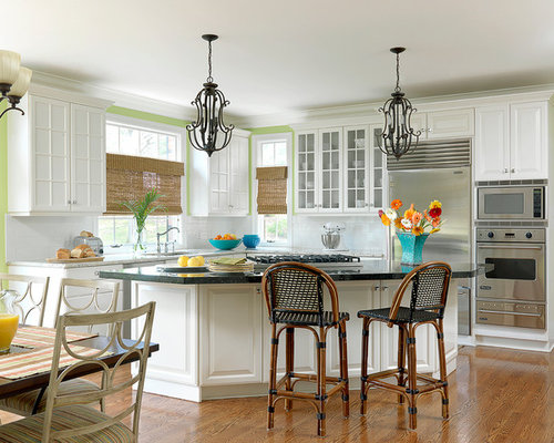 Kitchen pantry in other with an undermount sink raised panel cabinets - Triangle Island Houzz