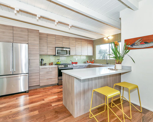 Inspiration For A Contemporary U Shaped Eat In Kitchen Remodel In Los  Angeles With