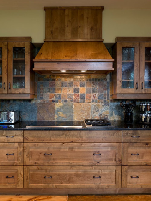 Elegant kitchen photo in Calgary with multicolored backsplash, shaker  cabinets, medium tone wood cabinets - Slate Backsplash Houzz