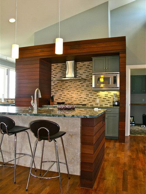 ... cabinets, green cabinets, granite countertops, beige backsplash, stone