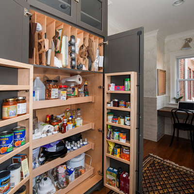 Example of a transitional kitchen pantry design in Chicago with gray cabinets