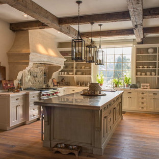 This is an example of a large mediterranean u-shaped eat-in kitchen in Other with recessed-panel cabinets, white cabinets, zinc benchtops, stainless steel appliances, medium hardwood floors and with island.