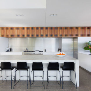 Contemporary kitchen ideas - Kitchen - contemporary concrete floor kitchen idea in Sydney with concrete countertops, metallic backsplash, metal backsplash, stainless steel appliances and an island