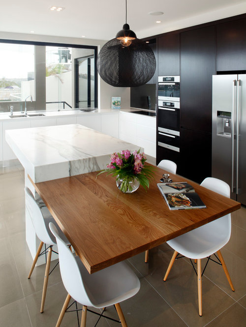 Mid Sized Trendy L Shaped Porcelain Floor Enclosed Kitchen Photo In Sydney  With Flat