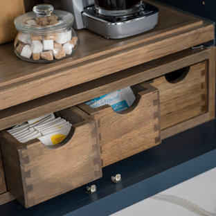 Close Up of Stained Hickory Apothecary Drawers with Dovetail Joinery within a Be