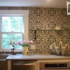 eclectic kitchen cluny tile