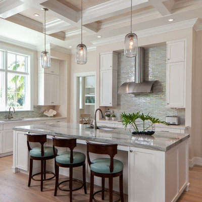 Kitchen - coastal kitchen idea in Miami with an island