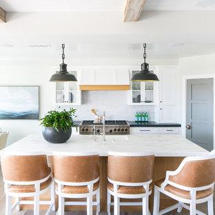 ロサンゼルスのビーチスタイルのおしゃれなキッチン (白いキャビネット、白いキッチンパネル、サブウェイタイルのキッチンパネル、シルバーの調理設備、淡色無垢フローリング、黒いキッチンカウンター、シェーカースタイル扉のキャビネット) の写真