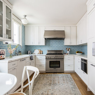 Coastal Kitchen Blue Backsplash