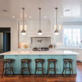Esempio di una cucina parallela costiera con ante in stile shaker, ante bianche, paraspruzzi a finestra, elettrodomestici in acciaio inossidabile, parquet scuro, isola e pavimento marrone