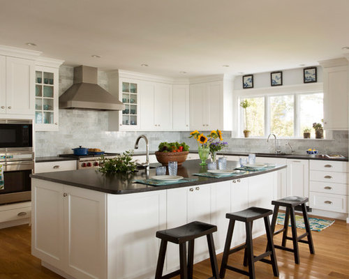 White Cabinet Dark Countertop Ideas, Pictures, Remodel and Decor