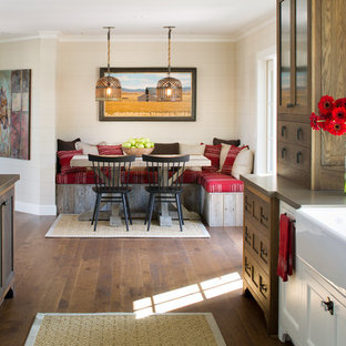 Inspiration for a country galley dark wood floor eat-in kitchen remodel in San Diego with beaded inset cabinets, medium tone wood cabinets and a farmhouse sink