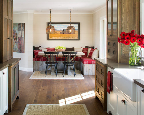 Inspiration For A Farmhouse Galley Dark Wood Floor Eat In Kitchen Remodel  In San Diego