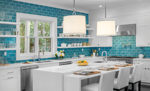 Beach Style Kitchen by D.K. Boos Glass Inc