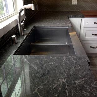 Coastal   Transitional Kitchen - White and Grey