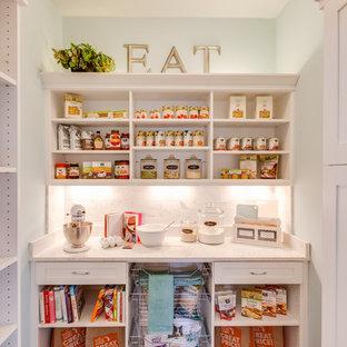 Diseño de cocina lineal, tradicional, pequeña, con despensa, armarios abiertos, puertas de armario blancas y suelo de madera oscura