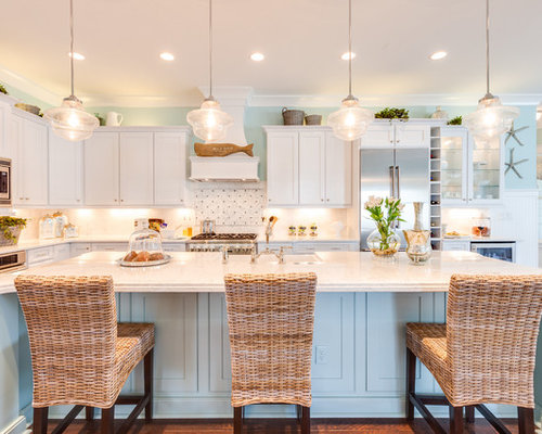 Inspiration for a large beach style l-shaped open concept kitchen ...