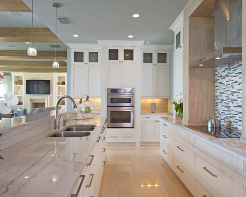 Ex&le of a coastal u-shaped eat-in kitchen design in Orlando with recessed & Gray Leather Counter Stools | Houzz islam-shia.org