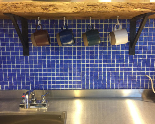 cobalt blue glass tile backsplash