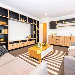Inspiration for a large contemporary single-wall open plan kitchen in Canberra - Queanbeyan with an undermount sink, open cabinets, black cabinets, quartz benchtops, white splashback, mosaic tile splashback, black appliances, carpet and no island.