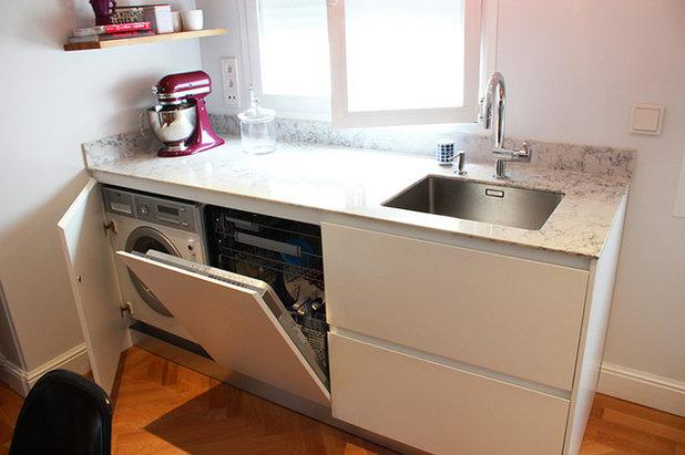Cocina ideas para un fregadero funcional c modo y vers til for Medidas de lavavajillas