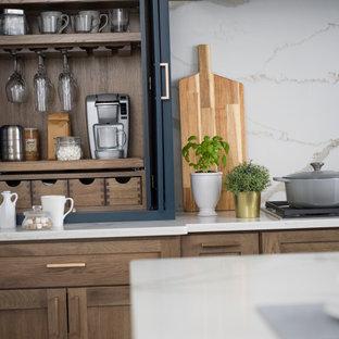 Coffee Station Cabinet - Beverage Center Larder in a Blue Modern Farmhouse Kitch