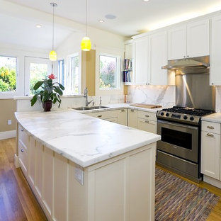 Kitchen - traditional kitchen idea in San Francisco with marble countertops and marble backsplash