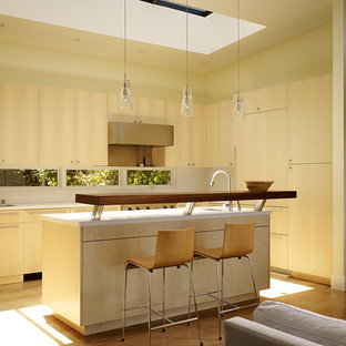 Open concept kitchen - modern l-shaped open concept kitchen idea in San Francisco with flat-panel cabinets and light wood cabinets