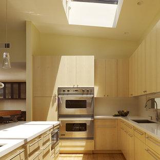 サンフランシスコのモダンスタイルのおしゃれなキッチン (シルバーの調理設備の、アンダーカウンターシンク、フラットパネル扉のキャビネット、淡色木目調キャビネット) の写真
