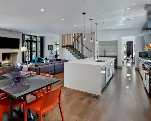 Trendy Open Concept Kitchen Photo In Dallas With A Double Bowl Sink, Flat