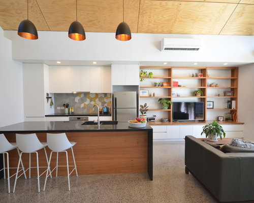 contemporary kitchen design. Photo Of A Contemporary Galley Open Plan Kitchen In Melbourne With An Undermount Sink, Flat Design