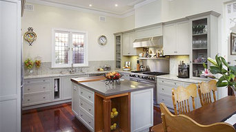 Colonial style kitchen painted white