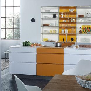 75 Beautiful Dark Wood Floor Kitchen With Orange Cabinets ...