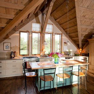 他の地域のトラディショナルスタイルのおしゃれなキッチン (シルバーの調理設備、木材カウンター) の写真