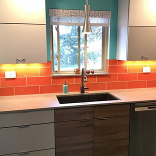 Small midcentury modern enclosed kitchen inspiration - Example of a small 1960s galley linoleum floor and turquoise floor enclosed kitchen design in Other with a single-bowl sink, flat-panel cabinets, gray cabinets, quartz countertops, orange backsplash, ceramic backsplash, stainless steel appliances and no island