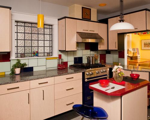 Red and yellow backsplash home design ideas pictures - Photos de belles cuisines modernes ...