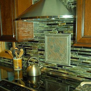 他の地域の中サイズのエクレクティックスタイルのおしゃれなキッチン (アンダーカウンターシンク、レイズドパネル扉のキャビネット、濃色木目調キャビネット、クオーツストーンカウンター、マルチカラーのキッチンパネル、ボーダータイルのキッチンパネル、シルバーの調理設備の、淡色無垢フローリング、茶色い床、黒いキッチンカウンター) の写真