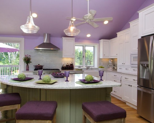 Purple kitchen design ideas renovations photos with for Purple and green kitchen ideas