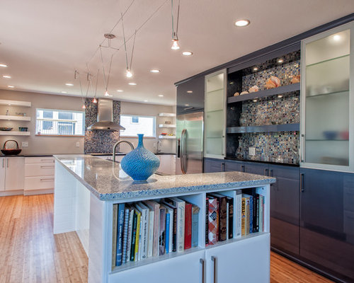 Kitchen design ideas renovations photos with glass for Kitchen cabinets made from recycled materials