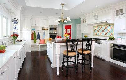 Kitchen of the Week: Crisp White Cabinets and Room for Family